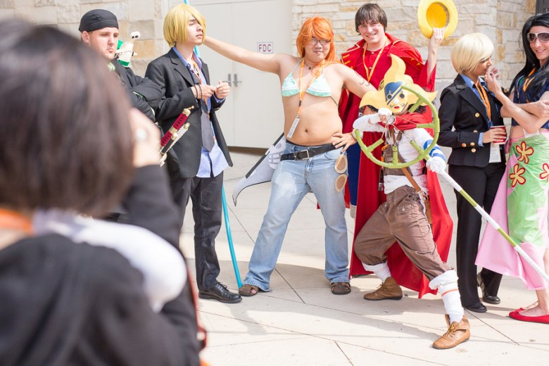 Cosplayers pose for a photo outside the Henry B. Gonzales Convention Center. Photo by Scott Ball.
