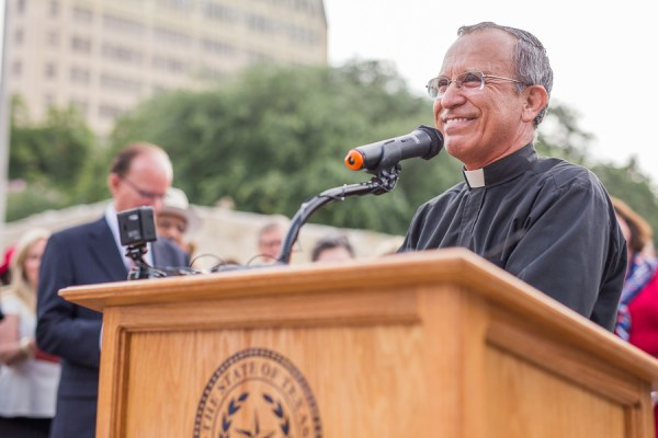 Father David Garcia gives a speech at the World Heritage Inscription.  Photo by Scott Ball.