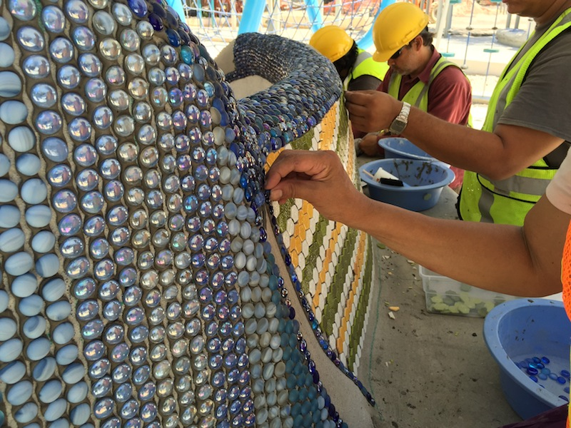 "Construction at the Yanaguana Garden ""playscape"" continues in Hemisfair Park. Photo courtesy of Hemisfair."