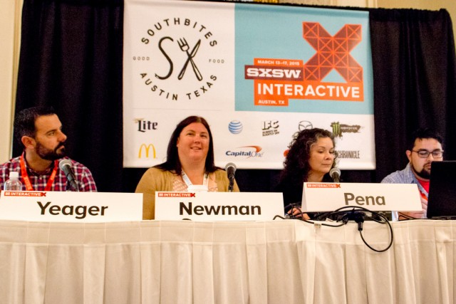 A panel during this year's SXSWi included panelists (from left) Blake Yeager of TechStars Cloud, Jody Newman of The Friendly Spot, Celina Peña of LiftFund and Ryan Salts of Cafe Commerce/Break Fast & Launch. Photo by Garrett Heath, courtesy of SA Flavor.