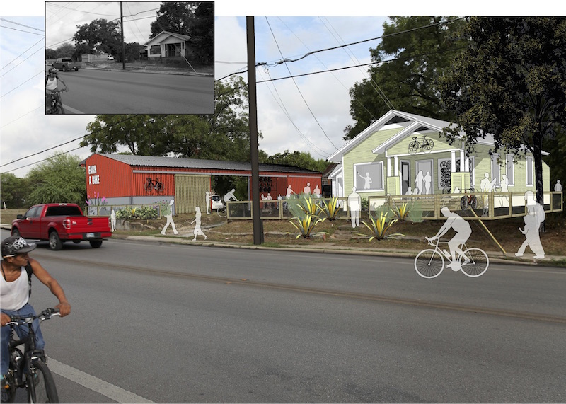 A rendering of the future BScuela warehouse (red) and Earn-A-Bike facilities. Image courtesy of Urbanist Design.