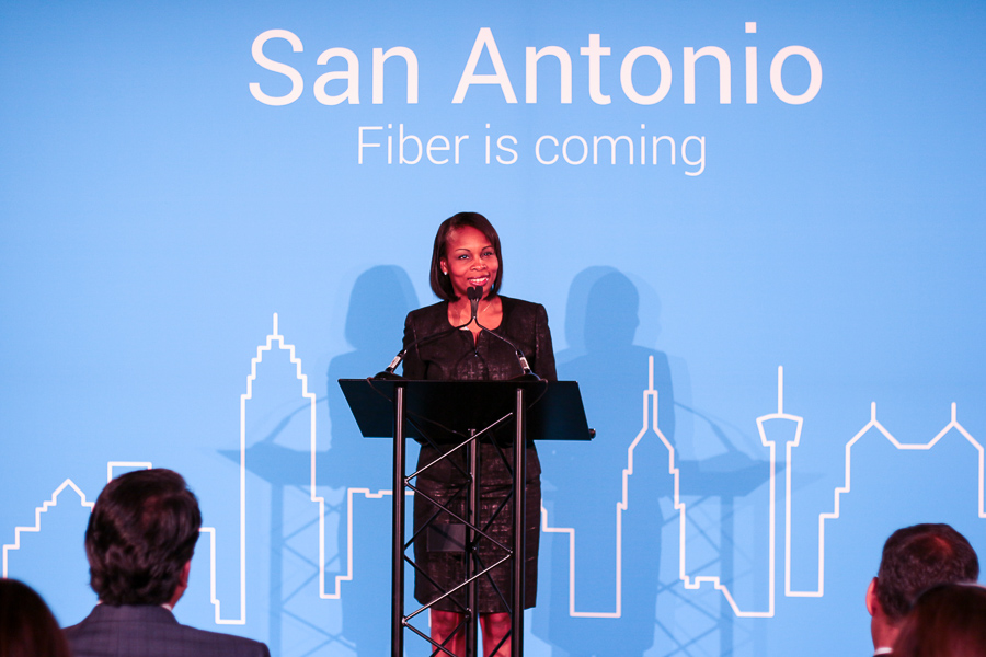 Mayor Ivy Taylor announces that Google Fiber is coming to San Antonio. Photo by Joan Vinson.