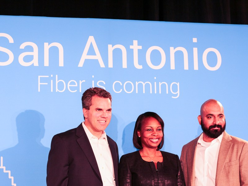 Left to Right, Mark Strama, Mayor Ivy Taylor, and Lorenzo Gomez pose for a photo after the announcement of Google Fiber coming to San Antonio. Photo by Joan Vinson.