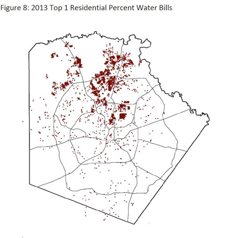 A 2013 map of the top 1% residential water users in San Antonio. Courtesy image.
