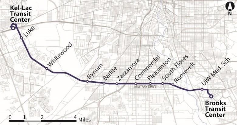 The Military Drive Primo Route. Image courtesy of VIA Metropolitan Transit.