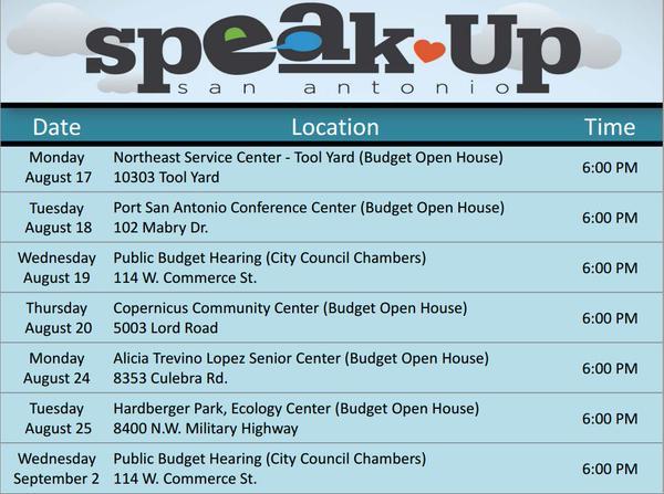 SASPeakUp budget open house schedule
