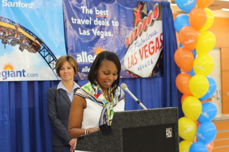 Mayor Ivy Taylor, with City Manager Sheryl Sculley standing behind her, spoke about the importance of bringing more airfare to San Antonio. Photo by Joan Vinson.