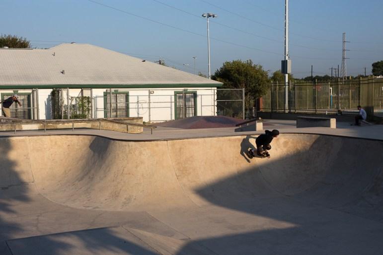 Gary Sweeney carves through Lady Bird Johnson skate park. Photo by Scott Ball.