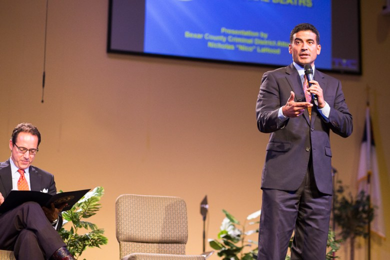 San Antonio District Attorney, Nico LaHood, gives his remarks. Photo by Scott Ball.