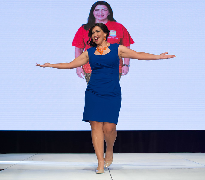 Anna Chadis proudly works the runway during the 2015 Slim Down Showdown Finale. Photo courtesy of H-E-B.