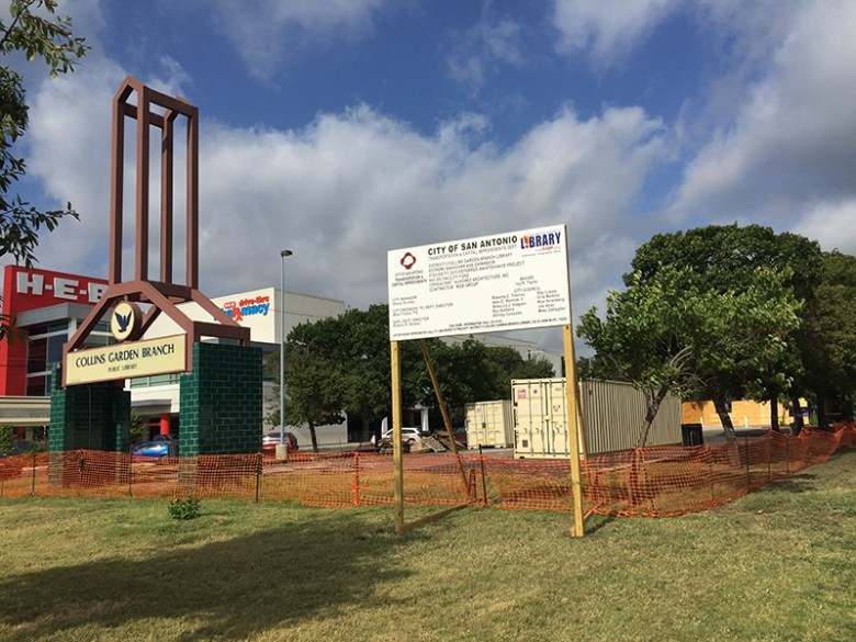 Construction on Collins Garden Branch Library started in June 2015, and will reopen in December 2015. Photo by Jennifer Herrera.