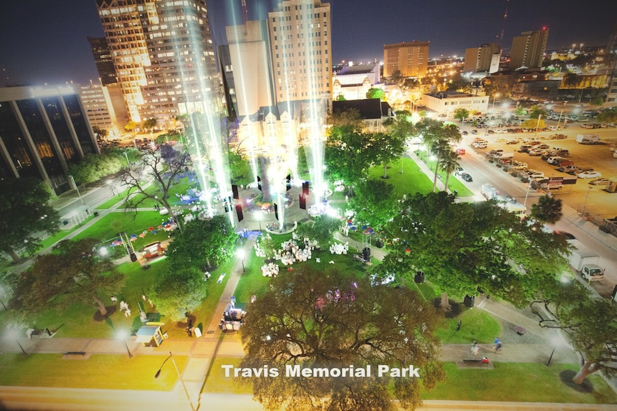 "A preliminary rendering of what Travis Park could become, ""Travis Memorial Park,"" at nighttime. Rendering by Councilmember Roberto Treviño."