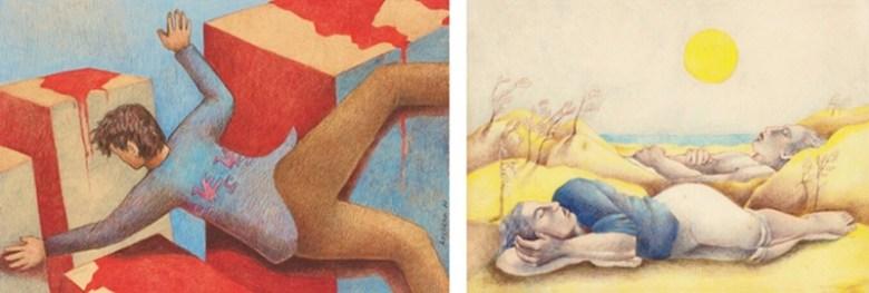 City of Blood, 1977, prismacolor pencil on paper, 5 1/2 x 8 1/2 in. Los desaparecidos en el cielo (The disappeared in heaven), 1977, color pencil on paper, 6 7/8 x 9 1/4 in.,  Collection of Marta Martinez.