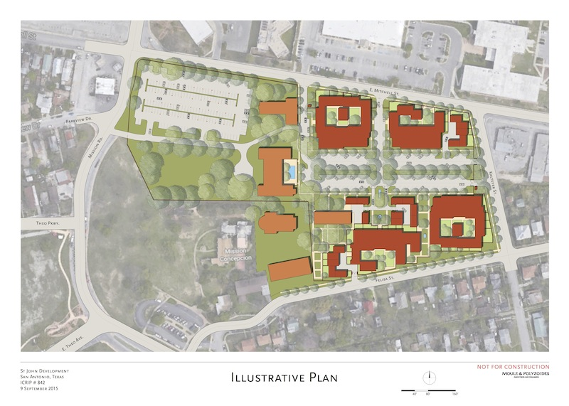 Site plan for the proposed Mission Concepción apartment and office building complex. Orange buildings indicate existing historical structures. Image courtesy of Moule & Polyzoides.