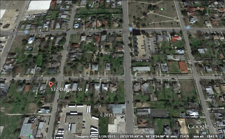 An aerial view of the vacant lots at 532 Dawson St. and 417 N. Mesquite St. Image via Google Earth.