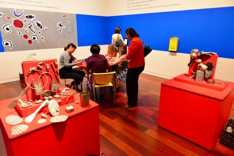 """The Media takes a moment to play at """"Miro: The Experience of Seeing."""" Photo by Page Graham."""