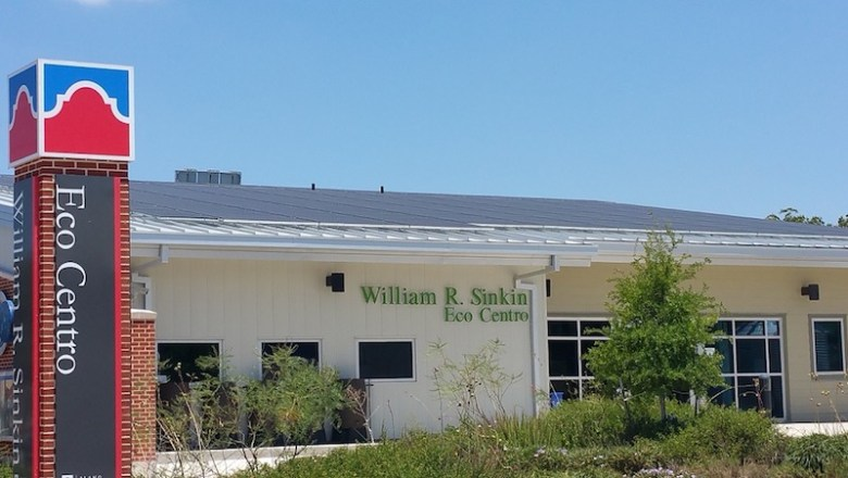 San Antonio College's 135 panel solar array located on top of the William R. Sinkin Eco Centro building. Photo by Jillian College.