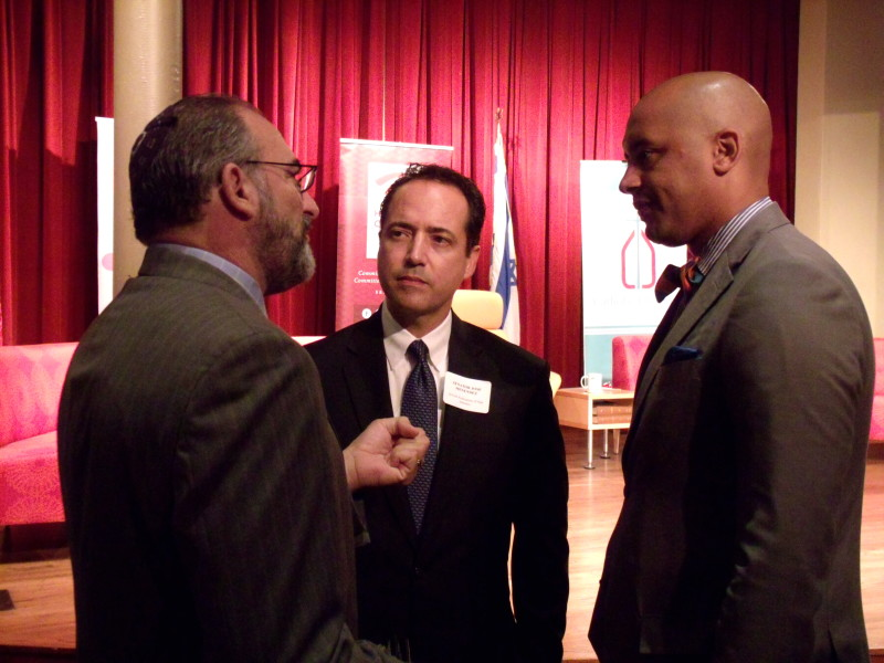 """Winslow Swart (left) talks with State Sen. José Menéndez (center) and Councilmember Alan Warrick (D2) before the start of """"A Community Conversation: Preventing Hate Crimes"""" at the Pearl Stable on Tuesday, Sept. 1, 2015. Photo by Edmond Ortiz"""