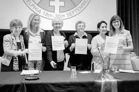 "Equal in Faith: An Interfaith panel moderated by Sr. Maureen Fiedler. Rebecca Alpert, Jewish; Christina Rees, Anglican; Maureen Fiedler, Roman Catholic; Patricia Fresen, ""Roman Catholic Womanpriest;"" Asra Nomani, Muslim;  Kate Kelly, Mormon. Photo by Giulia Bianchi."