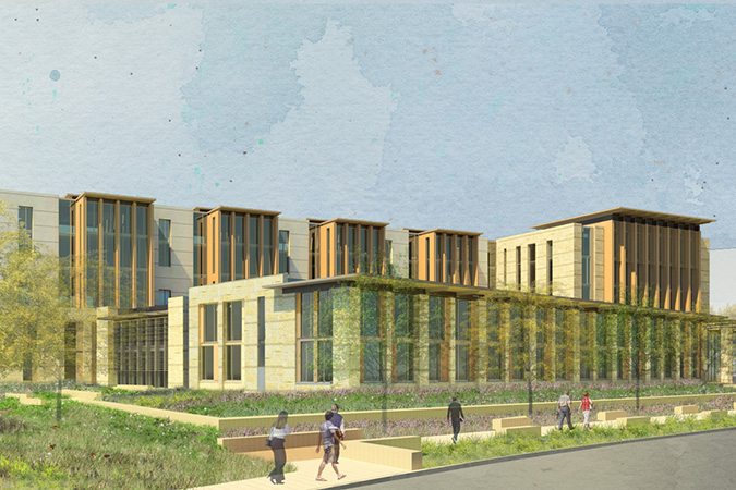 A Lake|Flato rendering of the $100 million project of the San Antonio Federal Courthouse. Courtesy of Lake|Flato.