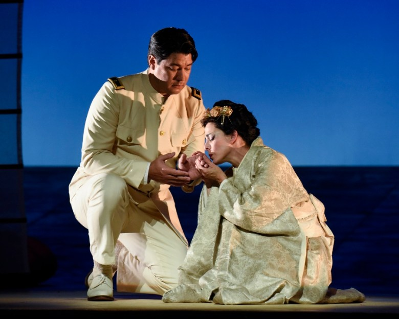"""Maria Kanyova and Adam Diegal in """"Madama Butterfly,""""  September 2015. Photo by Karen Almond for OPERA San Antonio."""