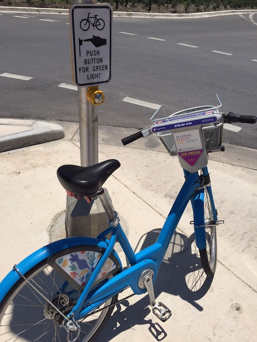 A B-Cycle at a crosswalk. Photo by Chris Lazaro.