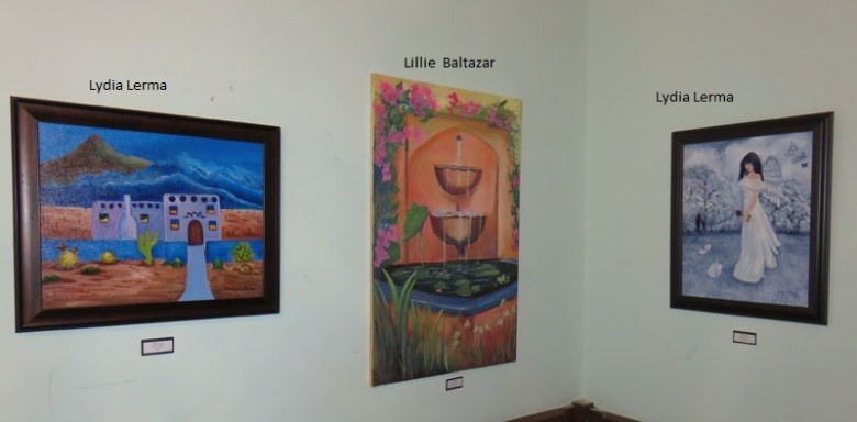 Paintings on display at the Commander's House for the Bravo for ArtAbility show. Photo by Warren Lieberman.