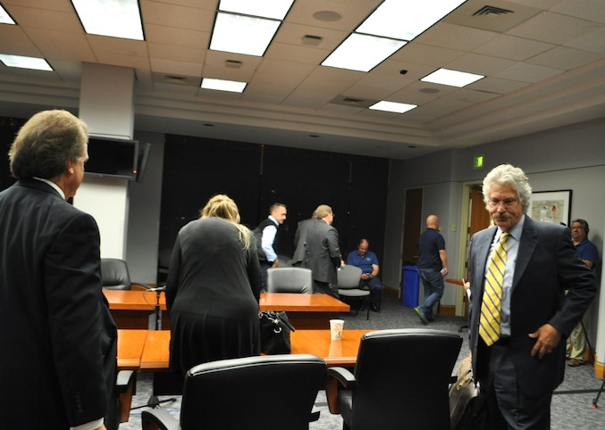 The City's lead negotiator Jeff Londa answers questions from reporters' after talks with the police union. Photo by Iris Dimmick.