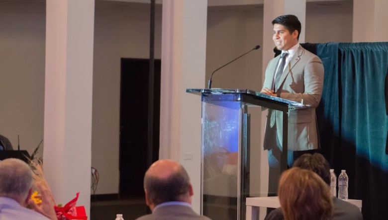 Councilmember Rey Saldaña gives opening remarks. Courtesy photo of Port San Antonio.