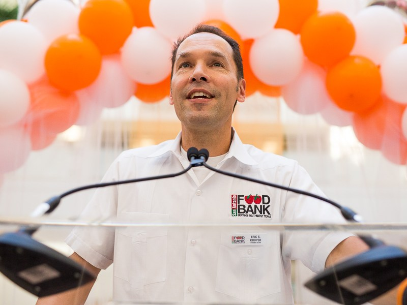 President and CEO of the San Antonio Food Bank Eric Cooper gives a speech about hunger at the awards ceremony. Photo by Scott Ball.