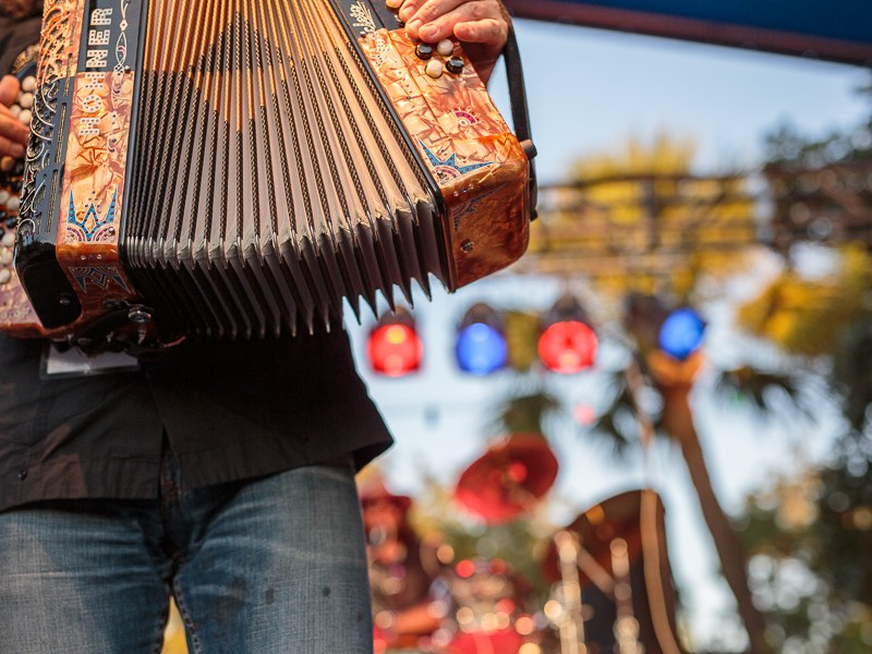 Flying Balalaika Brothers perform at the Maverick Plaza stage. Photo by Scott Ball.