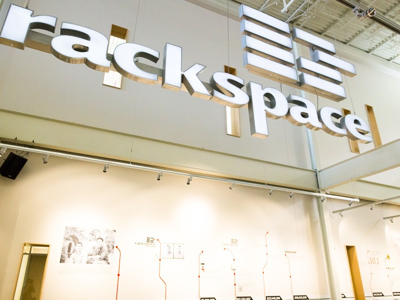 The entrance to Rackspace. Photo by Scott Ball.