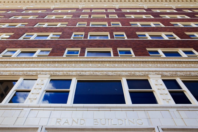 The historic Rand Buildings main entrance facing North. Photo by Scott Ball.