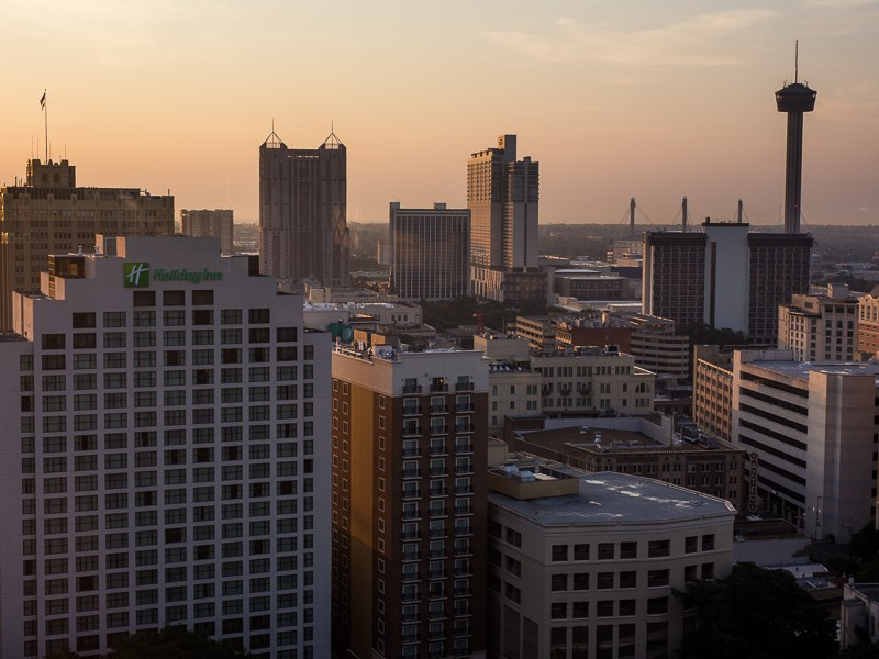The San Antonio skyline as the sun rises. Photo by Scott Ball.