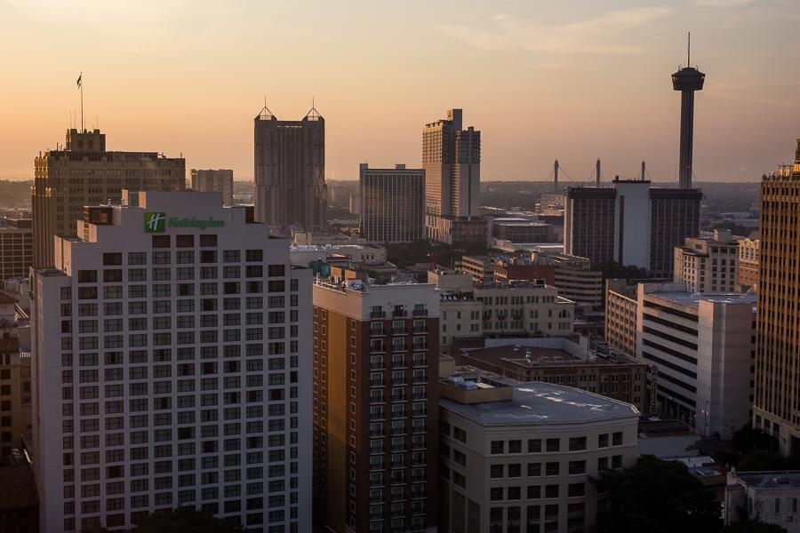 The San Antonio skyline as the sun rises. Photo by Scott Ball.
