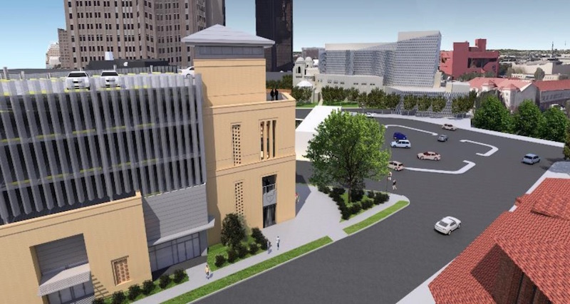 A rendering of the Tobin Center's proposed parking garage. Image courtesy of the Tobin Center for the Performing Arts.