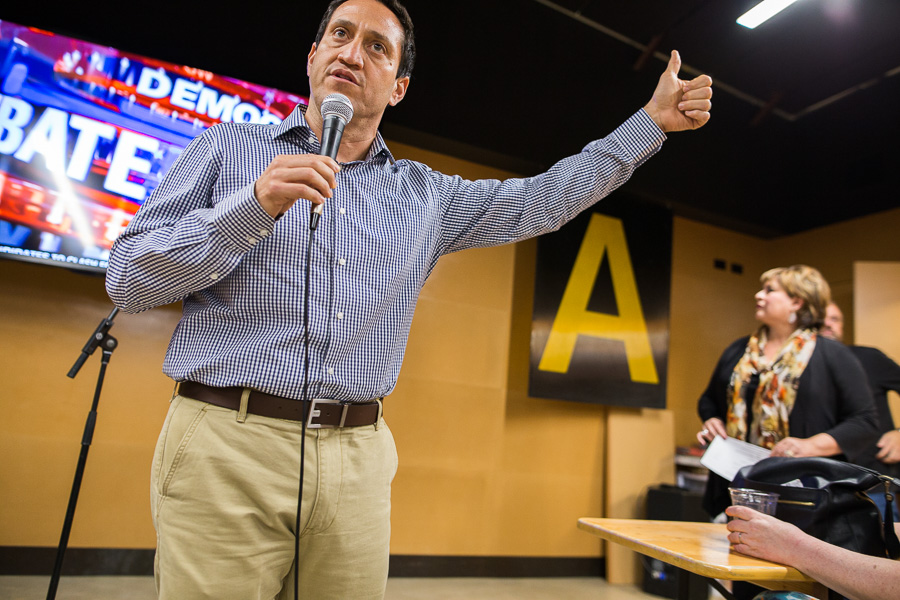 Trey Martinez Fischer speaks at Alamo Beer Company. Photo by Scott Ball.