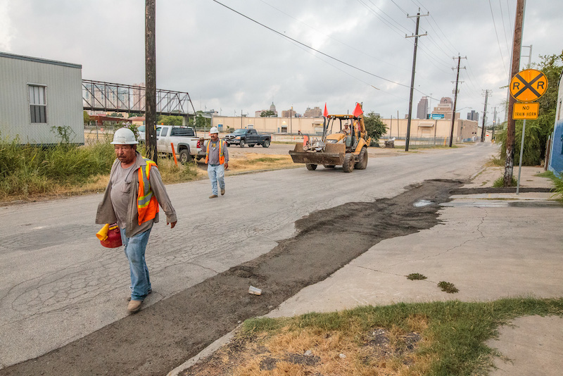 Construction work begins on Cherry Street in Dignowity Hill. Photo by Scott Ball.