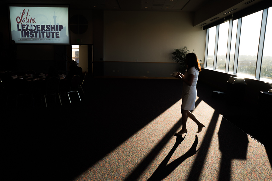 A guest walks through the Rosenberg Sky Room at the University of the Incarnate Word. Photo by Scott Ball.