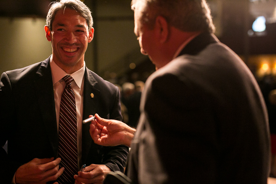 Councilmember, Ron Nirenberg (D8) speaks with SAWS President Robert Puente. Photo by Scott Ball.