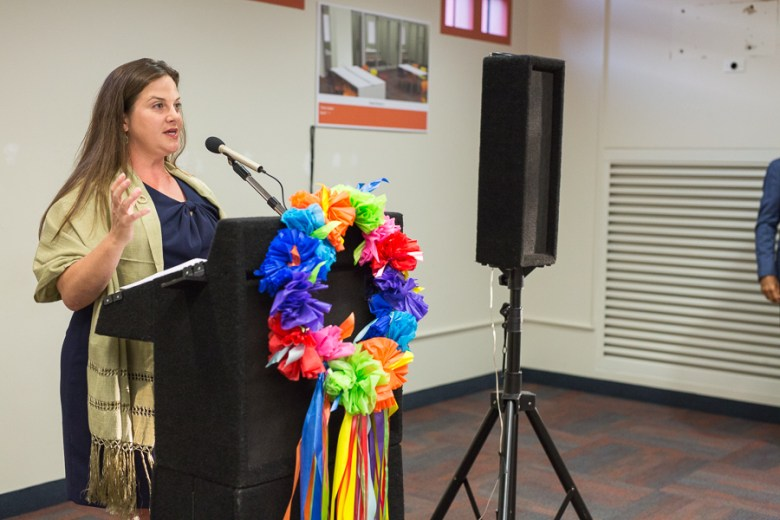 L3 Committee Chair Jordan Vexler gives opening remarks at the future home of the Latino Collection & Resource Center at the Central Library. Photo by Scott Ball.