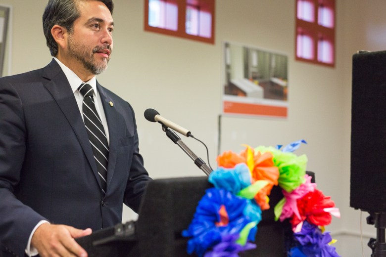 District 1 Councilmember Roberto C. Treviño gives remarks at the future home of the Latino Collection & Resource Center at the Central Library. Photo by Scott Ball.