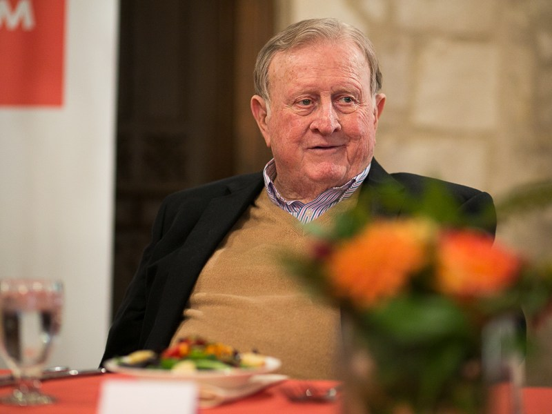 Red McCombs sits in attendance of an AEM luncheon at the Southwest School of Art. Photo by Scott Ball.