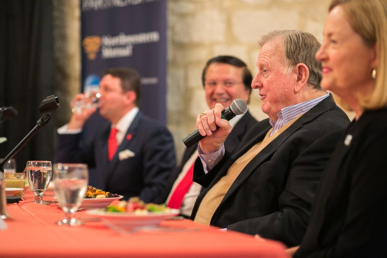 Red McCombs addresses the crowd at the AEM lunch series. Photo by Scott Ball.