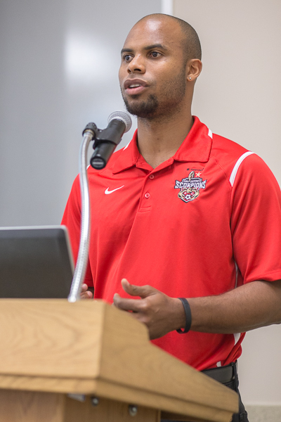 San Antonio Scorpions defender Julius James gives his remarks at the QUITXT press conference. Photo by Scott Ball.