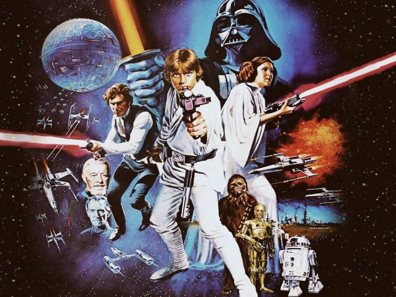 Promotional image for the Star Wars film series created by George Lucas.