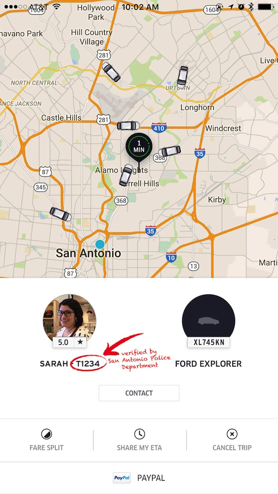 A screenshot/graphic of Uber's new profile feature that indicates a driver's added background check.