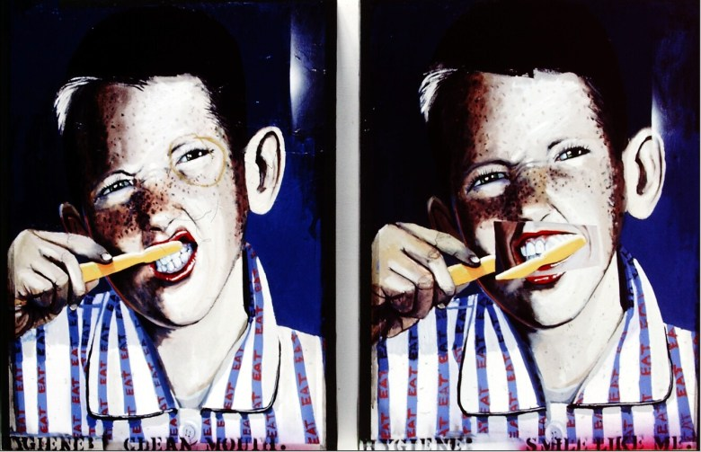 Hygiene/Clean Mouth, 1985, oil on panel diptych, 35 x 29 in. each panel. By Gary Schafter.