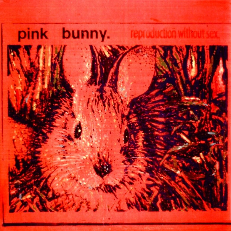 """""""Bunny,"""" 1993, color copy on wood, 24 x 24 x 4 in. By Gary Schafter."""