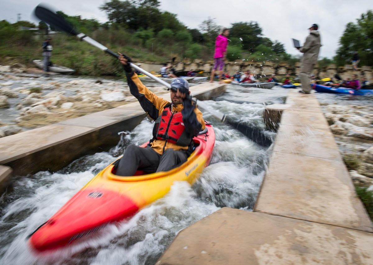 Kayakers made their way down the starting chute during the River Relay. Photo by Matthew Busch.
